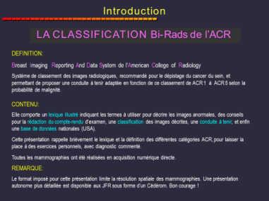classification de l'ACR